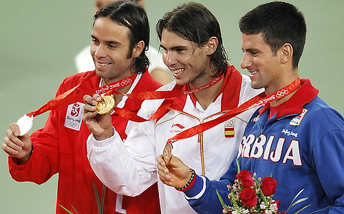 Photo of Rafael Nadal, Fernando Gonzalez, and Novak Djokovic by aldinegirl12.