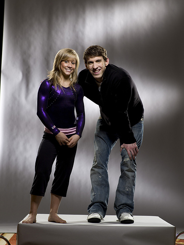 Photo of Olympic gold medalists Shawn Johnson and Michael Phelps by Marco Pakoeningrat.
